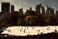 Vintage Wolman Rink, Central Park, New York City - this was our view from room 3704 at the Park Lane hotel  (37th floor). 3/15/14.