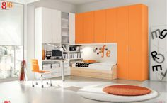 Dielle White Based Kids Rooms with Colorful Furniture : Charming White Based Kids Room Walls with Orange Large Closet and Minimalist Study Desk