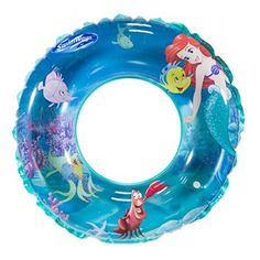 Bring Princess Ariel and her friends to life with the Disney 3-D Swim Ring from SwimWays! Features of this fun kids pool floaty include: Two layers of colorful character graphics create a cool 3-D effect  Measures approximately 20 inches across when inflated  Child safety valve for added security