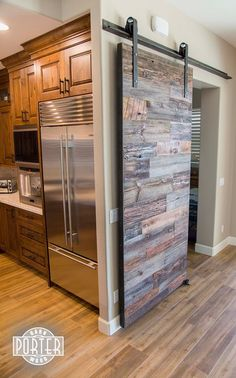 Sliding Barn Door - Reclaimed Hemlock Siding with Orange accents - contemporary - Interior Doors - Phoenix - Porter Barn Wood LLC Door Design, House Design, Sliding Closet Doors, Loft Doors, Reclaimed Lumber, Reclaimed Doors, The Doors, Entry Doors, Panel Doors