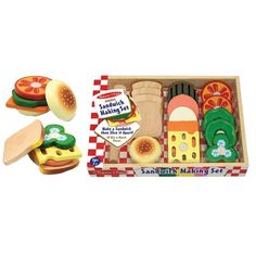 Sandwich Making Set Wooden Play Food Set - Educational Toys Planet Wooden Play Food, Play Wood, Play Kitchen Accessories, Play Food Set, Play Sets, Sandwich Bar, Sandwiches, How To Make Sandwich, Melissa & Doug