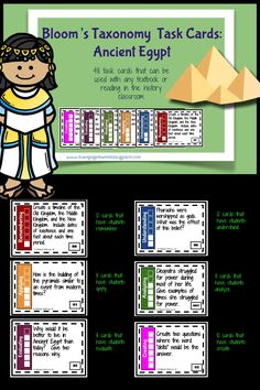 Ancient Egypt Bloom's Taxonomy Task Cards Ancient Egypt Lessons, Ancient Egypt Activities, Ancient Egypt History, 6th Grade Social Studies, Teaching Social Studies, Teaching History, Primary Teaching, Teaching Activities, Teaching Tools