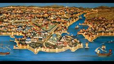 Medieval map of Constantinople Annunciation Cathedral Herald - Apr 2009 Byzantine Architecture, Triptych, Athens, Istanbul, City Photo, Medieval, Portrait, Roman Empire, Hagia Sophia