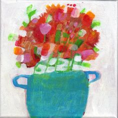 Original acrylic painting on canvas by Imogen Skelley full of colour and detail. Who loves flowers? I know that I do, with their beautiful colours and wonderful perfume! Sometimes, the delicate petals and leaves look best when they are put into the most humble of containers!