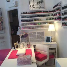 Nail salon decor, nail salon design, beauty room decor, tech room, na Home Beauty Salon, Home Nail Salon, Nail Salon Design, Beauty Salon Decor, Pink Nail Salon, Salon Nails, Purple Nail, Nail Desk, Nail Room