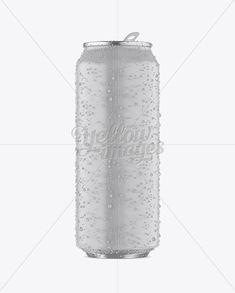 500ml Aluminium Can W/ Condensation & Matte Finish Mockup