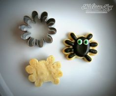 Spider cookies with a flower cookie cutter