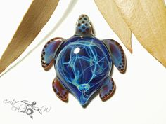 Blue Spirit Turtle Pendant Glass Pendant by CreativeFlowGlass  #new2016design #glassturtlependant #boro #seaturtle #turtle #necklace #focalbead #flameworked #etsystore #savefromcanada