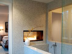 Modern see through double sided fireplace from the master bedroom to master bathroom Small Bathroom, Master Bathroom, Bathroom Ideas, Bathroom Designs, Bathroom Trends, Bathroom Layout, Bath Ideas, Bathroom Interior, Bathroom Fireplace