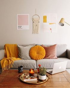 Grey Yellow Living Room - Grey Yellow Living Room, Pops Of Yellow Home & Interiors Home Living Room, Interior, Living Room Paint, Living Room Decor Orange, Living Room Orange, Trendy Living Rooms, Yellow Decor, Room Decor, Living Room Grey