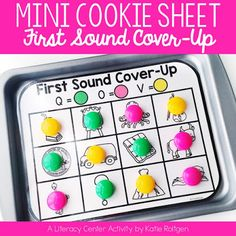 Mini Cookie Sheet Activity - First Sound Cover-Up | This download will work great for your preschool, Kindergarten, or 1st grade students to work on practicing first sound isolation in a fun and interactive way. These activity pages fit onto magnetic cookie sheets and use colorful circle magnets. These work great for literacy centers or stations, guided reading groups, early or fast finishers, for intervention, and as review. Grab this for your preK, Kinder, or first graders today!