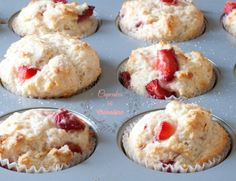 Strawberry and Lemon Muffins in muffin cups ready for the oven from cupcakesandcrinoline