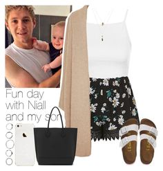 """""""Fun day with Niall and my son"""" by lottieaf ❤ liked on Polyvore featuring Topshop, Rosetta Getty, Mulberry, Orelia, Birkenstock, women's clothing, women, female, woman and misses"""