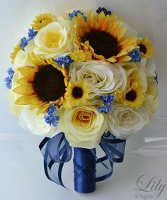 "17 Piece Package Silk Flower Wedding Decoration Bridal Bouquet Sunflower YELLOW IVORY Dark BLUE ""Lily Of Angeles"""