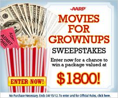 AARP $1800 Movies for Grownups Sweepstakes on http://www.icravefreebies.com