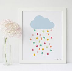 Nursery Decor Rain Cloud Wall Art Print Digital by PennyJaneDesign