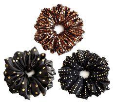 Hair Scrunchies Brown Scrunchie Gold Polka Dots Scrunchies