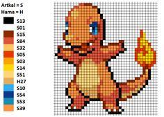 I worked with this pattern to make my Charmander. On the left you can see the matching Artkal and Hama colors. Charmander Glumanda Bead Pattern Perler Artkal Hama Nabbi Pokemon Nintendo Unpixable