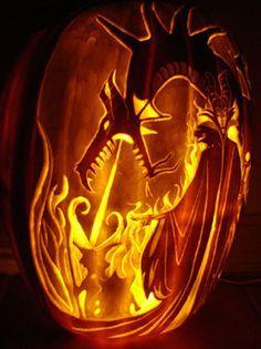 fire breathing dragon pumpkin stencil - Google Search