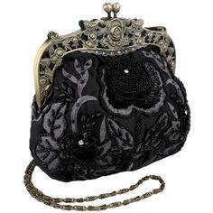 Antique Beaded Rose Evening #Handbag, Clasp Purse Clutch w/Removable Chain  #Women Handbags
