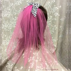 Hot Pink Zebra Veil  Party Veil Bachelorette Veil One by MisManos
