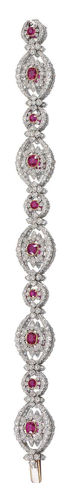 RUBY AND DIAMOND BRACELET/COLLIER DE CHIEN, CIRCA 1910