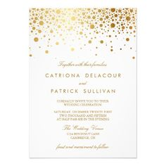 Faux Gold Foil Confetti Elegant Wedding Invitation from http://www.zazzle.com/faux_gold_foil_confetti_elegant_wedding_invitation-161903790980170342?rf=238505586582342524