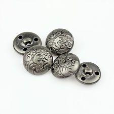 12kpl New Flower Veisto Antique Metal Round Coat Shank Napit 15 20 23mm