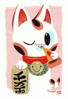 lucky cat illustration.....love it :)