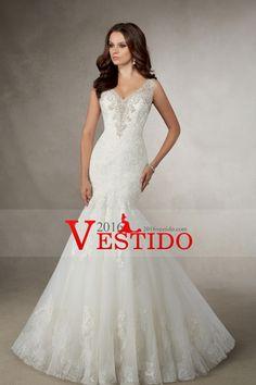 2016 vestidos de boda del tren de la capilla de la sirena cuello en V con apliques de tul Y Granos