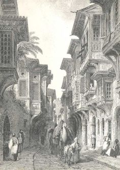 Old Istanbul image.  Ottoman era for sure.  Artist not known.
