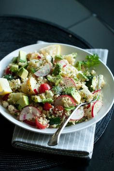 Spring Vegetable and Bulgar Wheat Salad (asparagus, potatoes, zucchini, cherry tomatoes, corn off the cob, snow peas, hearts of palm, radishes, feta, avocado and a lemon-herb vinaigrette)