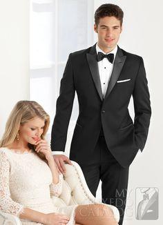 Black 'Jackson' Slim Tuxedo from http://www.mytuxedocatalog.com/catalog/rental-tuxedos-and-suits/C1001-Black-Jackson-Slim-Tuxedo/