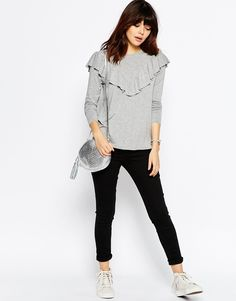 Image 4 ofASOS Top with Long Sleeve and Ruffle Front