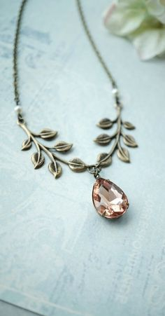 Champagne Peach Pear Glass and Brass Leaves Necklace. Romantic Nature Inspired Peach Wedding by Marolsha.