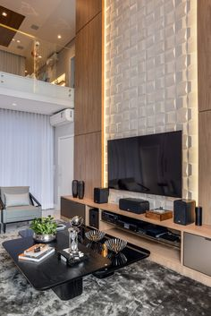 Tv Wall Design, Wood Design, House Design, Tv Unit Furniture, Casa Real, Luxury Living, Living Room Designs, Sweet Home, New Homes
