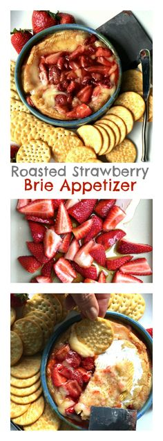 Roasted Strawberries Brie Appetizer - Made this Easter 2016 and it was a hit and gone quickly. You can't go wrong with melted Brie. Brie Appetizer, Best Appetizers, Appetizer Recipes, Cooking Recipes, Healthy Recipes, Vegetarian Recipes, Roasted Strawberries, Good Food, Yummy Food