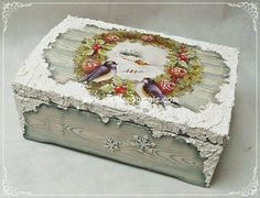 Pintura em caixa de madeira