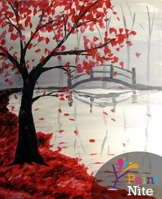"Get your walls ready for fall! There's an event near you. ""Bridge in the Fall"" #PaintNite"