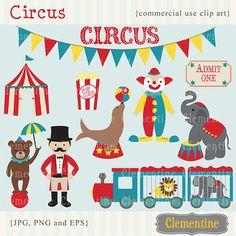 Buy 3 GET 2 FREE - Circus clip art images,  circus clipart, circus vector, royalty free clip art-- Instant Download