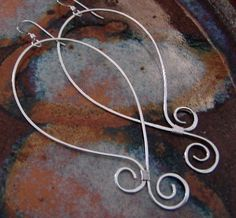 Curly Bottom Hoops Sterling Silver Earrings by StrungOutDesigns