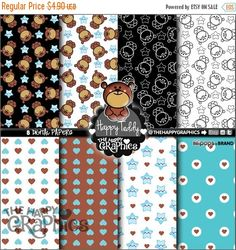 80%OFF - BIG SALE Baby Digital Paper, Commercial Use, Printable Paper, Kawaii Paper, Baby Pattern, Bear Digital Paper, Cute Background, Bear