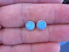 Opal  post  earrings ,Silver sterling opal stud earrings,Blue opal post earrings, 8mm