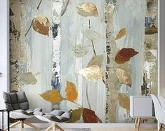 Hand Painted Pines Trees Wallpaper Wall Mural, Oil Painting Pines with Elk Mountains Wall Mural, High Qaulity Living Room bedroom Tree Mural Abstract Watercolor, Oil Painting Abstract, Wallpaper Wall, Countryside Style, Tree Wall Murals, Open Wall, Cleaning Walls, Landscape Walls, Decoration Design