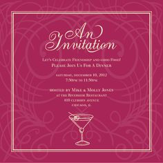 Free editable download in ms word invitation template entertaining party invitation cards templates martini invite burberry stopboris Choice Image