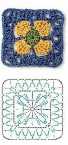 Transcendent Crochet a Solid Granny Square Ideas. Inconceivable Crochet a Solid Granny Square Ideas. Beau Crochet, Crochet Diy, Crochet Motifs, Crochet Square Patterns, Crochet Blocks, Crochet Diagram, Crochet Chart, Crochet Squares, Knitting Patterns