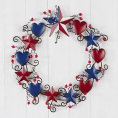Rustic Americana Metal Wreath Decoration
