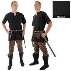 Easy peasy men's medieval outfit... oversize tee (split neckline) for the tunic, add an interesting belt and simple pants tucked into boots (or costume boot tops with regular shoes)