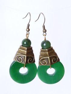 Aretes de Jade y Turmalina