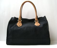 """$129 J.CREW TOTE 13"""" BLACK STURDY WOVEN CANVAS SPEEDY TAN LEATHER *EXCELLENT*  #JCrew #TotesShoppers"""